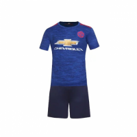 Manchester United Away Blue Jersey Kit(Shirt+Shorts) 2016-2017 Without Brand Logo