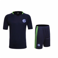 Schalke 04 Black Training Jersey Kit(Shirt+Shorts) 2016-2017 Without Brand Logo
