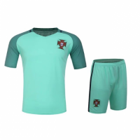 Portugal Away Green Jersey Kit(Shirt+Shorts) 2016 Without Brand Logo