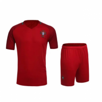 Portugal Home Red Jersey Kit(Shirt+Shorts) 2016 Without Brand Logo