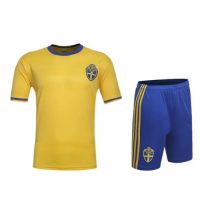 Sweden Home Jersey Kit(Shirt+Shorts)2016 Without Brand Logo