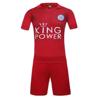 Leicester City Away Red Jersey Kit(Without Logo) 2016-2017 Without Brand Logo