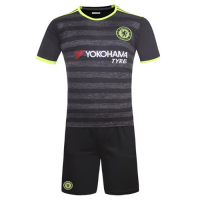 Chelsea Away Gray&Black Jersey Kit(Shirt+Shorts) 2016-2017 Without Brand Logo