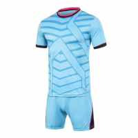 1612 Customize Team Sky Blue Soccer Jersey Kit(Shirt+Short)