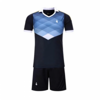 001 Customize Team Black&Blue Soccer Jersey Kit(Shirt+Short)