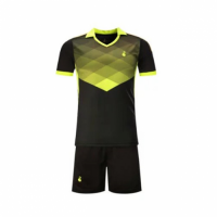 001 Customize Team Black&Yellow Soccer Jersey Kit(Shirt+Short)