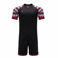 011 Customize Team Black&Red Soccer Jersey Kit(Shirt+Short)