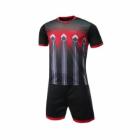 016 Customize Team Black Soccer Jersey Kit(Shirt+Short)