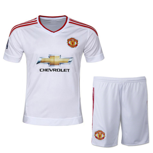 sneakers for cheap a9ba2 419f9 Manchester United Away White Jersey Kit(Shirt+Shorts) 2015 ...