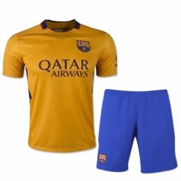 Barcelona Away Yellow Jersey Kit(Shirt+Shorts) 2015-2016